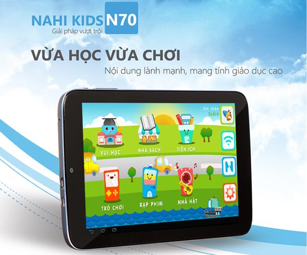 Nahi Kids với lớp vỏ hợp kim nhôm chống trầy và màn hình công nghệ cao nhất IPS 1280 x 800. Ram lên đến 1 Gb, kèm bộ nhớ trong lên đến 16Gb, có khe hỗ trợ thêm thẻ nhớ