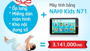 Máy tính bảng Nahi kids N71 tích hợp hơn 5000 phần mềm vừa học vừa chơi, tích hợp sim 3G và nghe điện thoại. Thế giới giải trí lành mạnh.