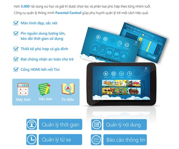 Máy tính bảng Nahi Kids N70 được thiết kế dành riêng cho trẻ em giúp bố mẹ quản lý chặc chẽ