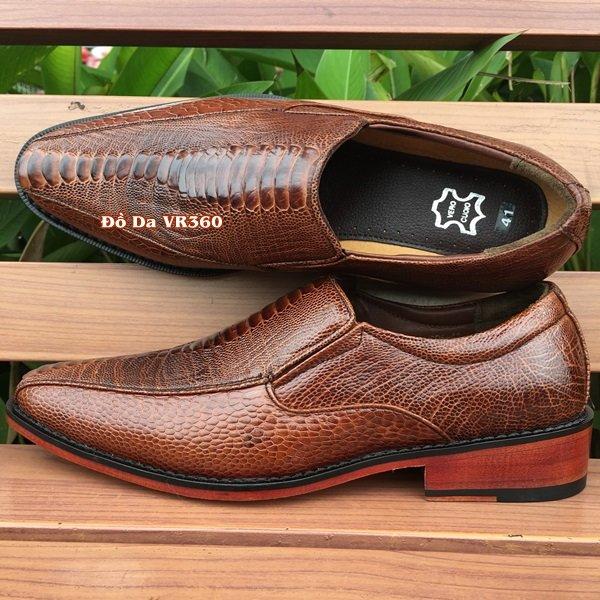 Giày Da Đà Điểu Kiểu Tây Nâu Đỏ DD08